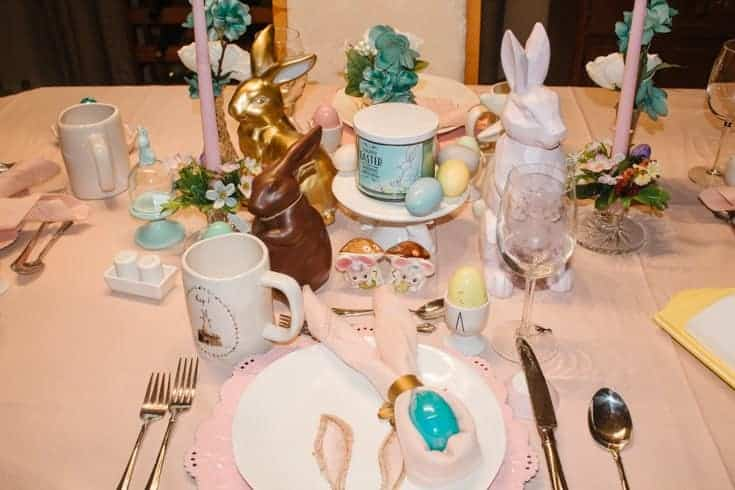 easter table with bunnies