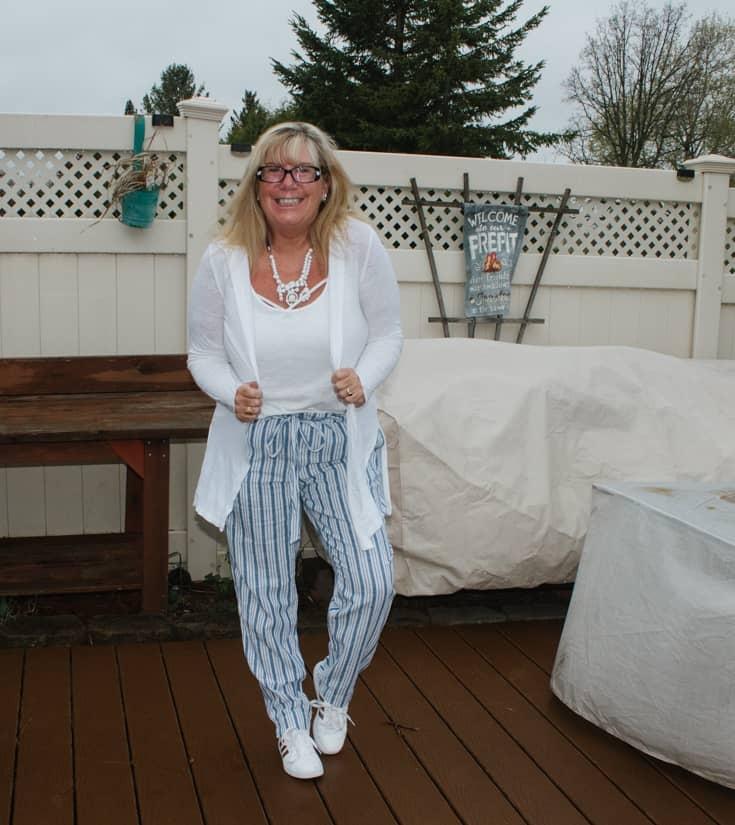 blue stripe pants