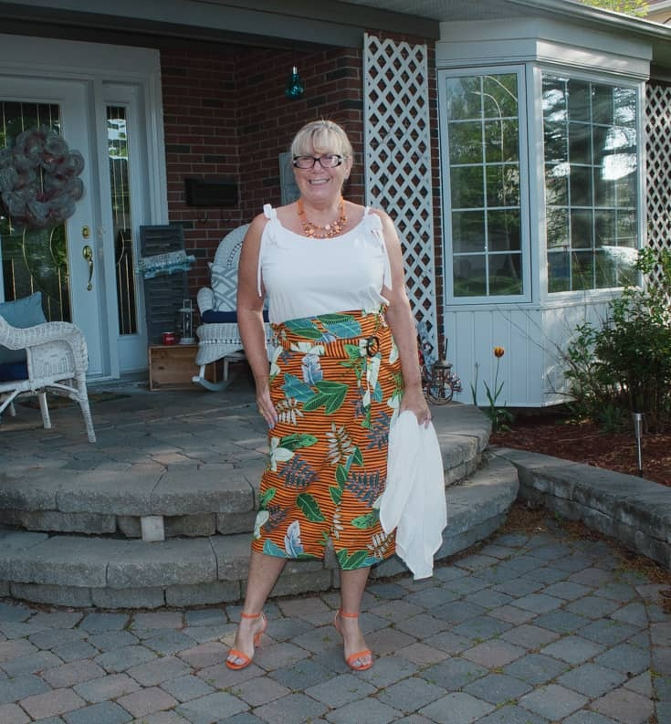 3 tropical skirt and strappy sandals