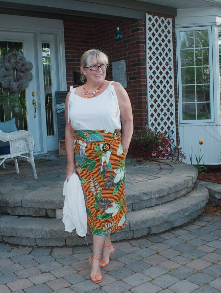 2 tropical skirt and strappy sandals