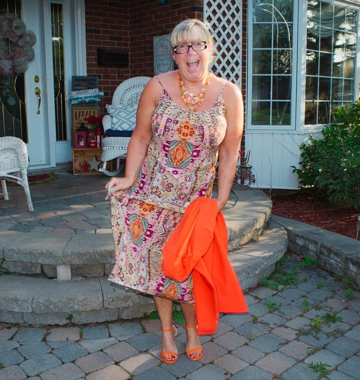 shoe dazzle orange strap sandals and Target sundress