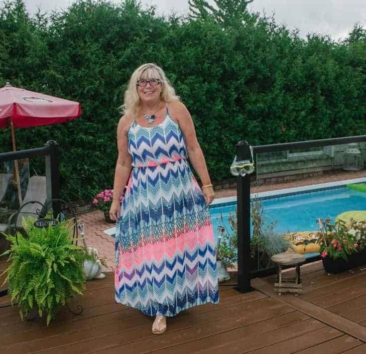 chevron maxi beside the pool