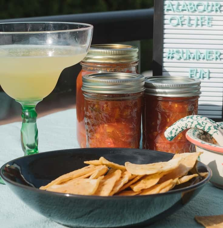 chips and salsa with margaritas