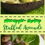 pineapple and shrimp in an avocado bowl