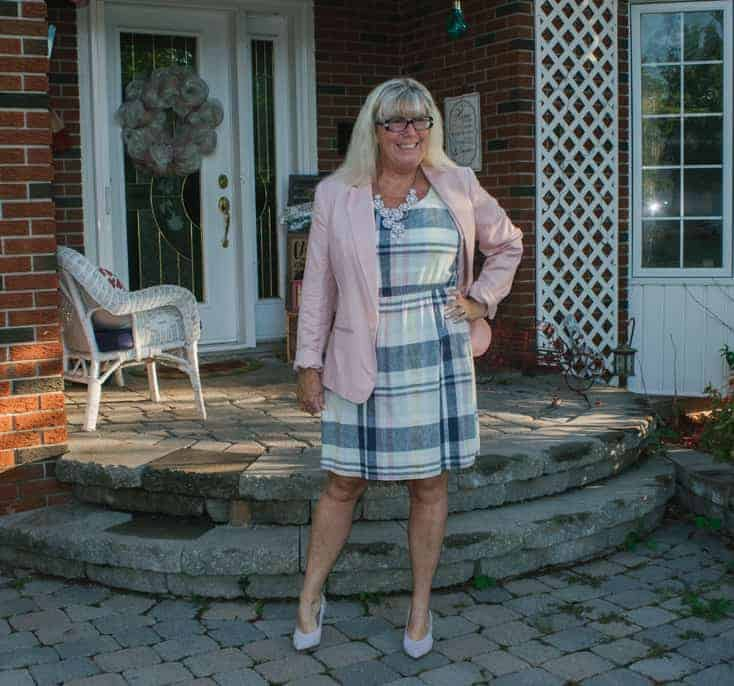 old navy shift with a pink target blazer