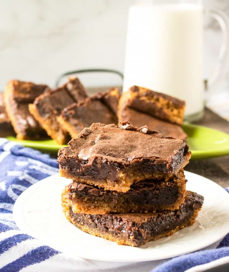 chocolate peanut butter brownies on a white plate