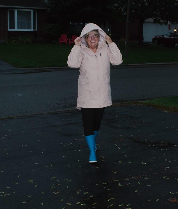 blush rain coat