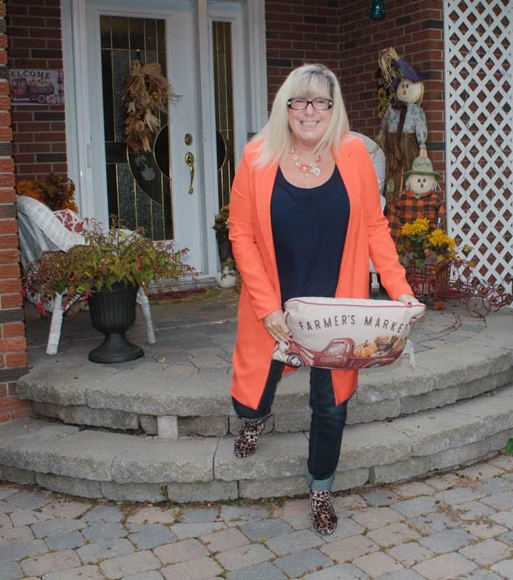 orange shein blazer with leopard boots 6