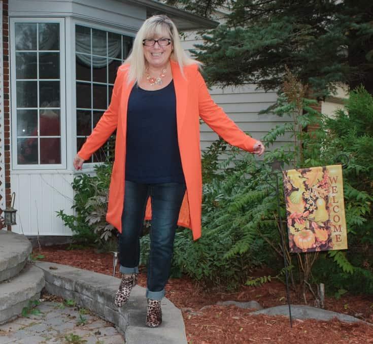 orange shein blazer with leopard boots 4