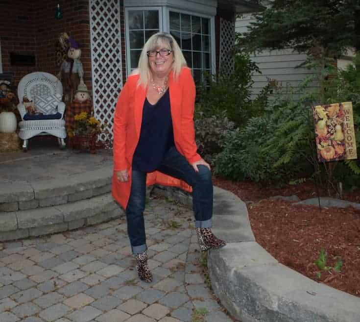 orange shein blazer with leopard boots 3