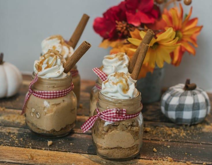 No Bake Pumpkin cheesecake mouse in mini mason jars 3