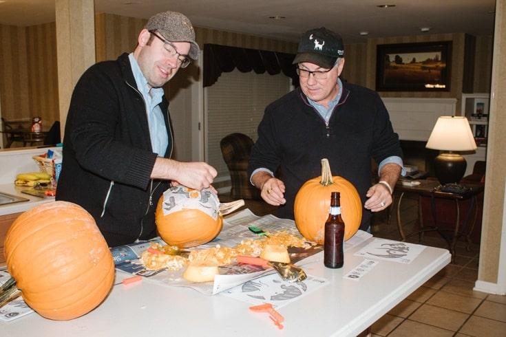 pumpkin carving in our condo in the Poconos