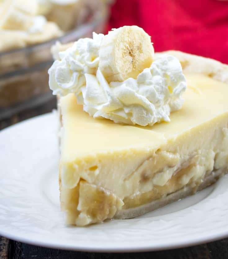 homemade pie with banana on top