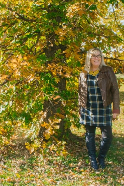 Fall Foliage in an Old Navy Plaid Dress
