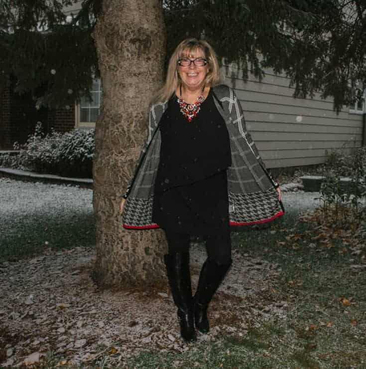 snow and a laura houndstooth sweater