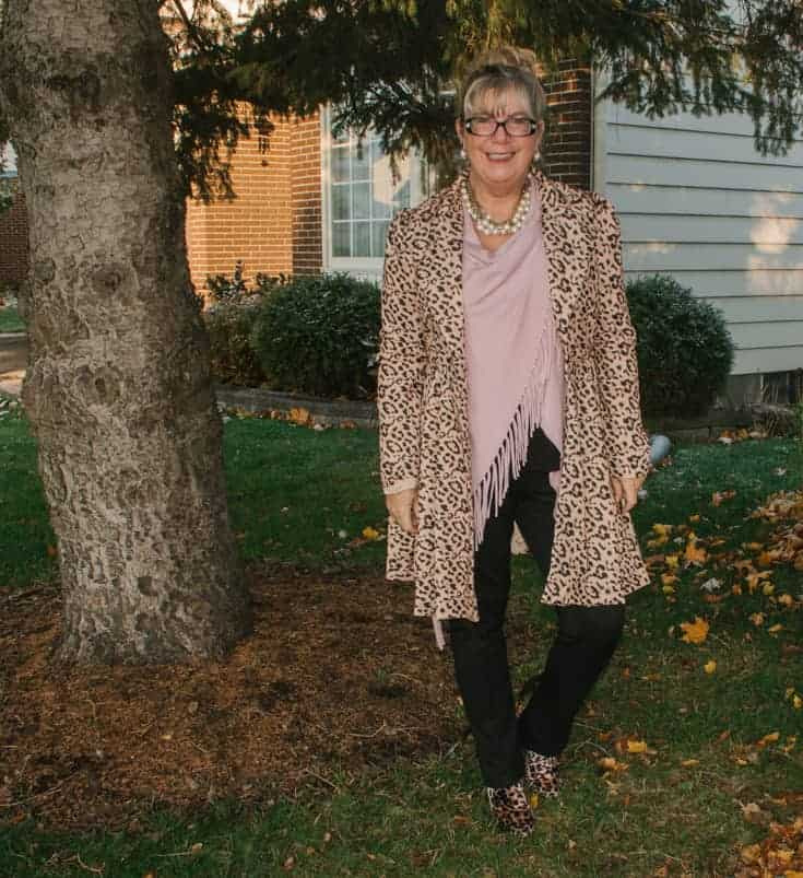 leopard coat and boots