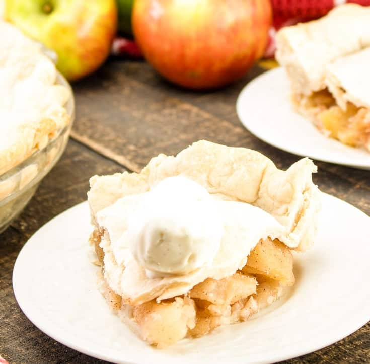 apple pie on a white plate