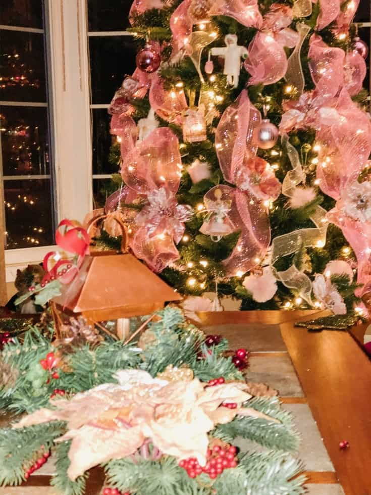 close up of pink christmas tree