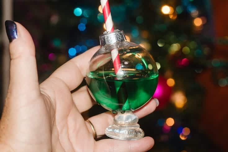 christmas ornament cocktail glasses