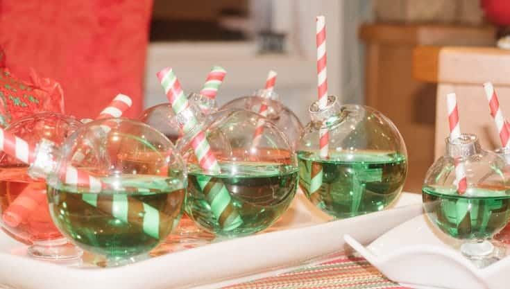 large christmas ornament cocktail glasses