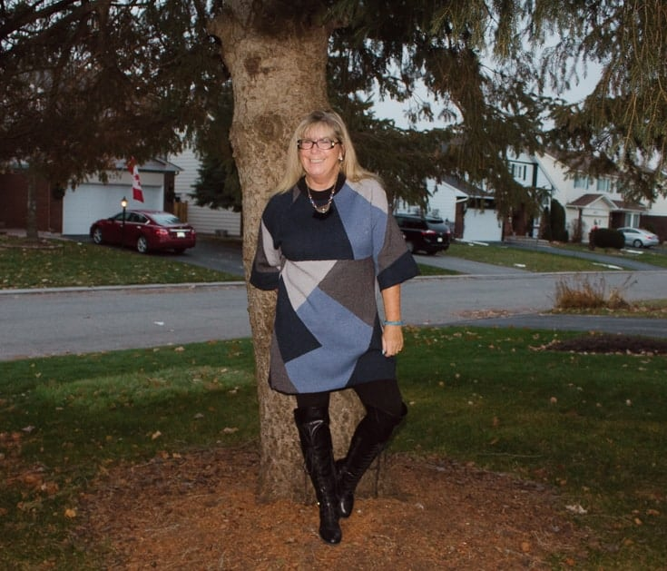 eva trends patchwork tunic by a tree