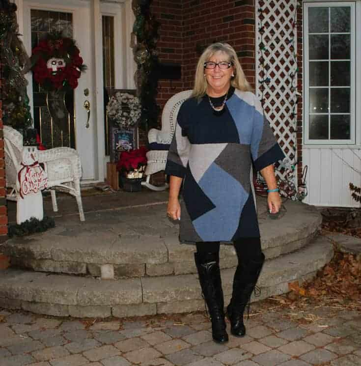 eva trends patchwork tunic near the front porch