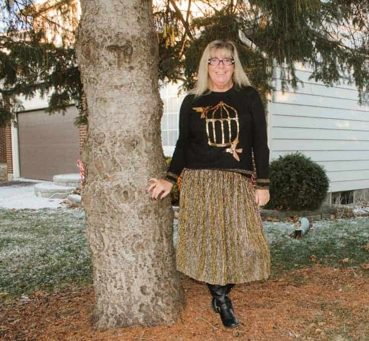 target gold skirt with HM Birdcage sequin sweater