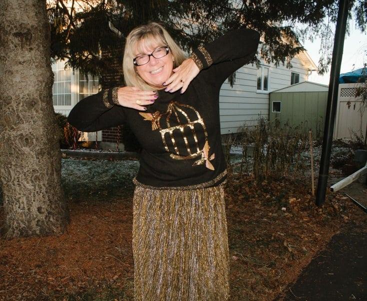 HM Birdcage sequin sweater