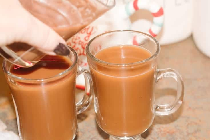 adding hot chocolate