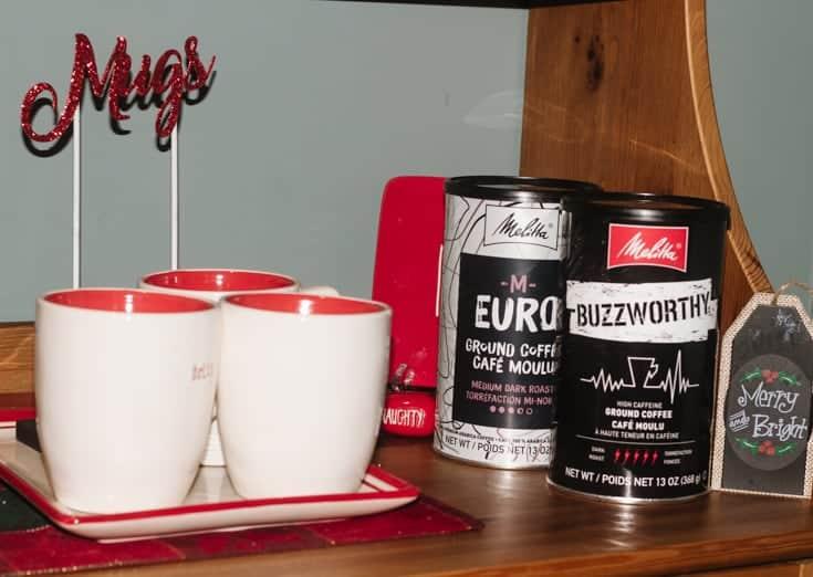 mugs for the melitta christmas coffee bar set up