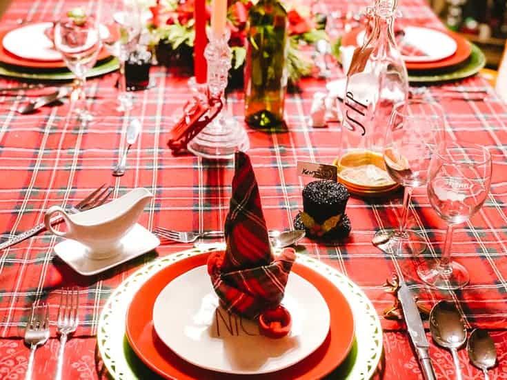 red plaid Christmas table