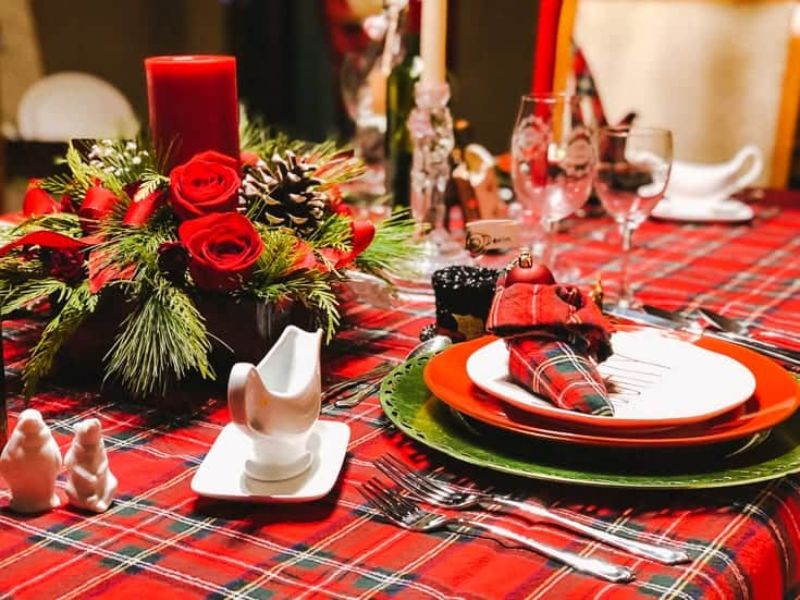 red plaid Christmas table for the holiday