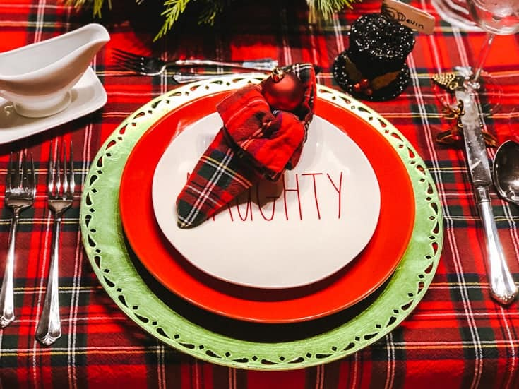elf shoe napkin and red plaid Christmas table