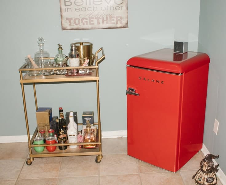 Galanz retro fridge and the bar cart