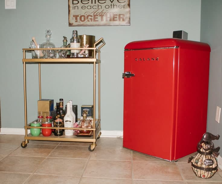 Galanz retro fridge and the barcart