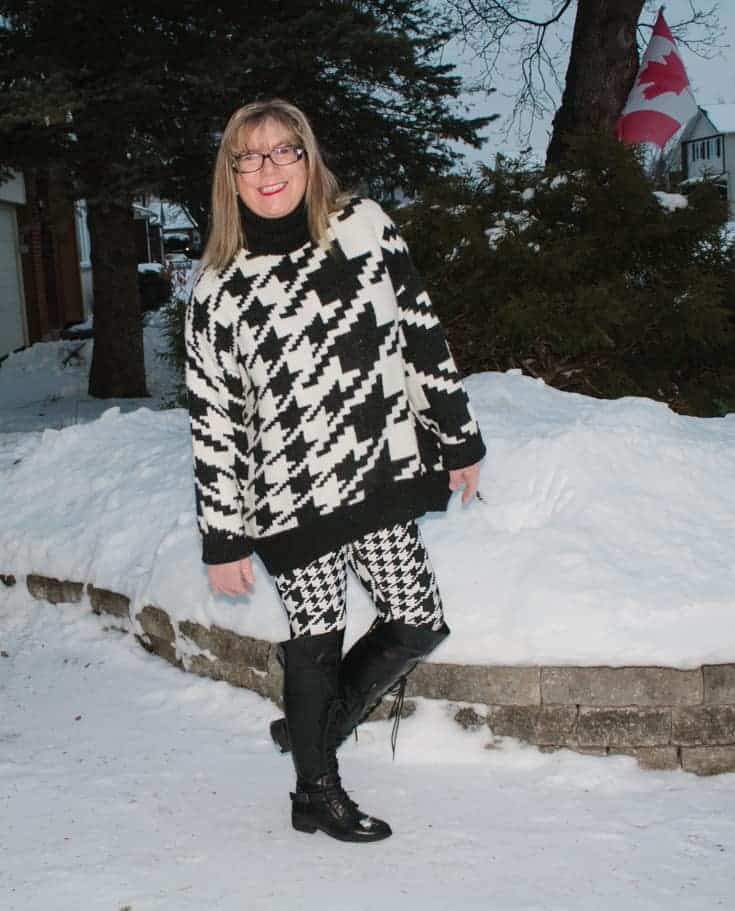 n in the snow in HM houndstooth sweater