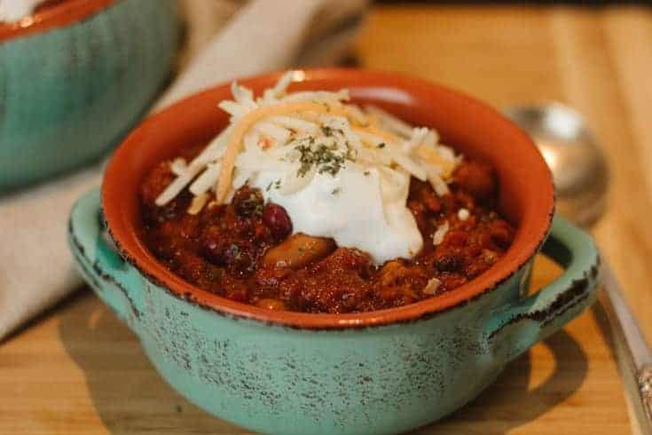 homemade beef chili in stoneware