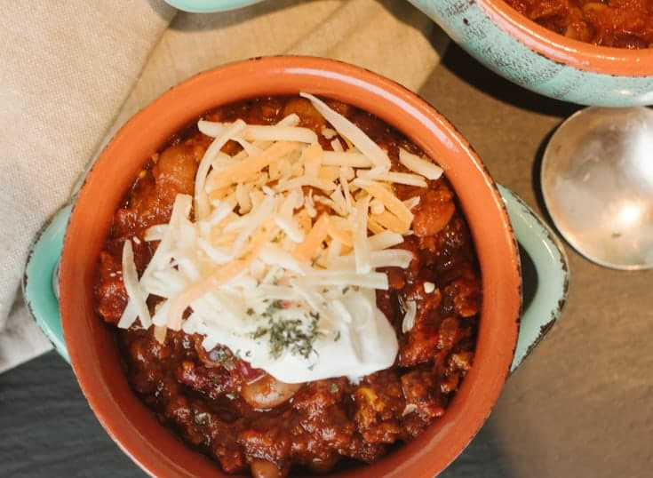 delicious homemade beef chili in stoneware