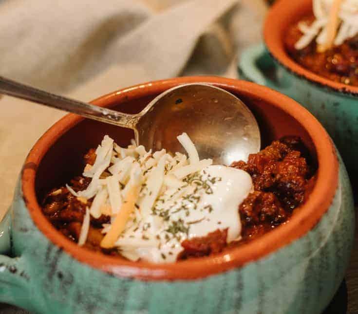 homemade beef chili in stoneware