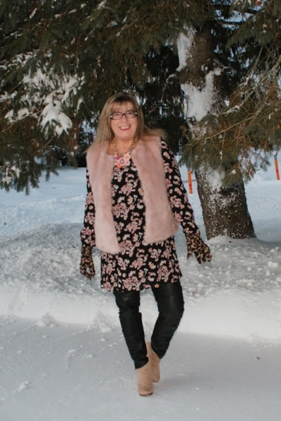 Pink Fur Vest and Winterude