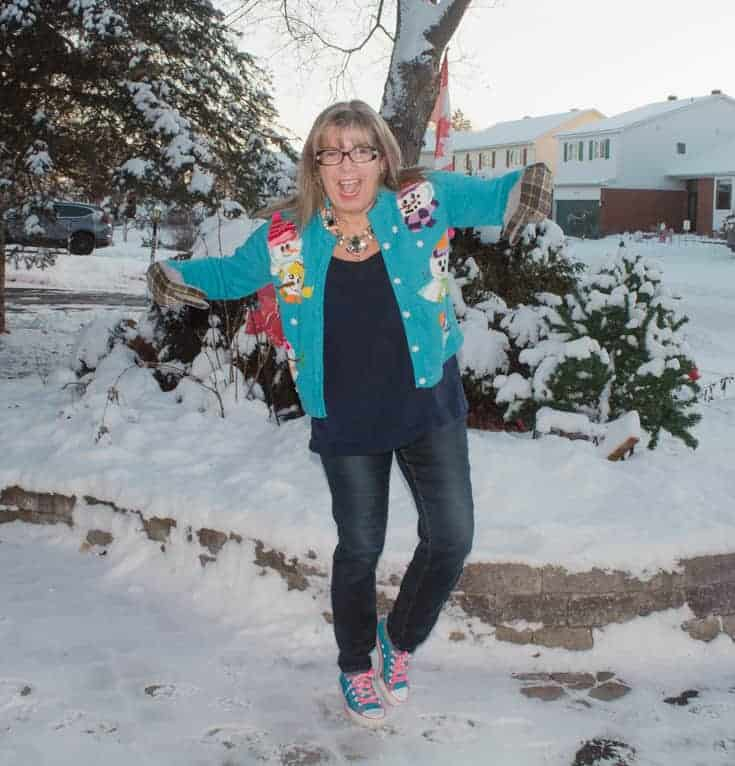 fun in a snowman sweater and haggar jeans