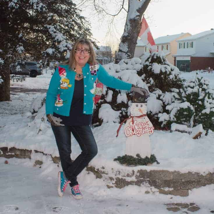 snowman sweater and haggar jeans with my snowman friend