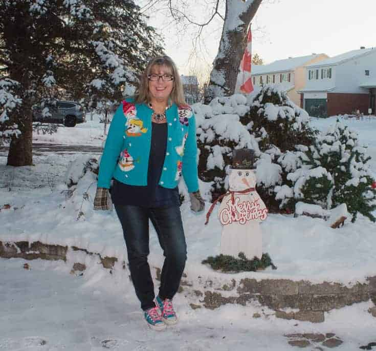 snowman sweater and haggar jeans