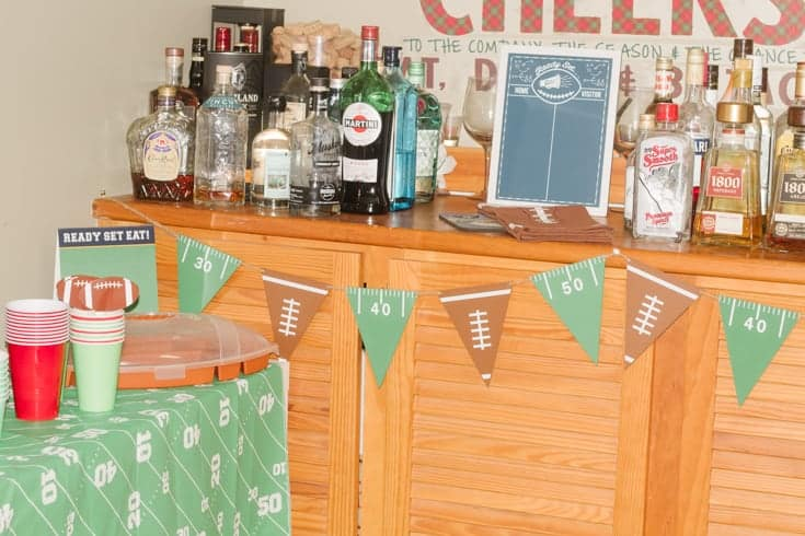 bar forsuper bowl set up for entertaining