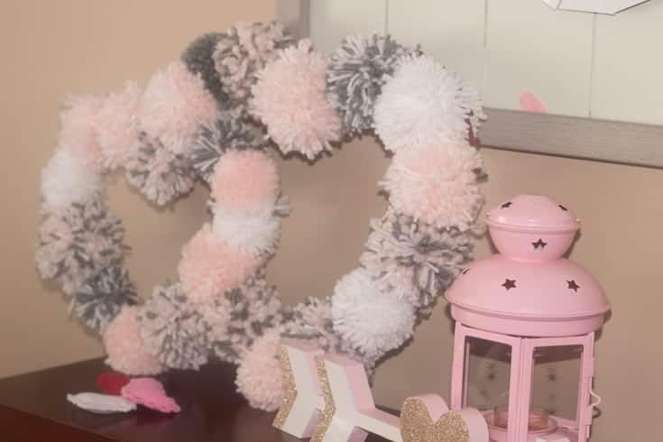 pompom wreath handmade