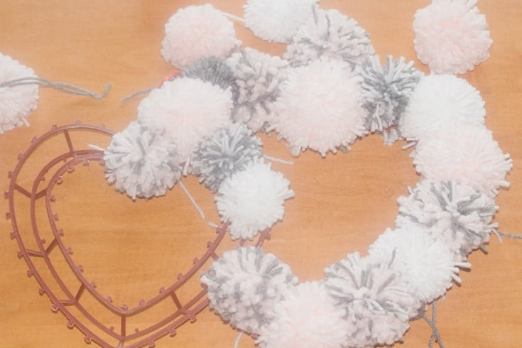 pompom heart wreath
