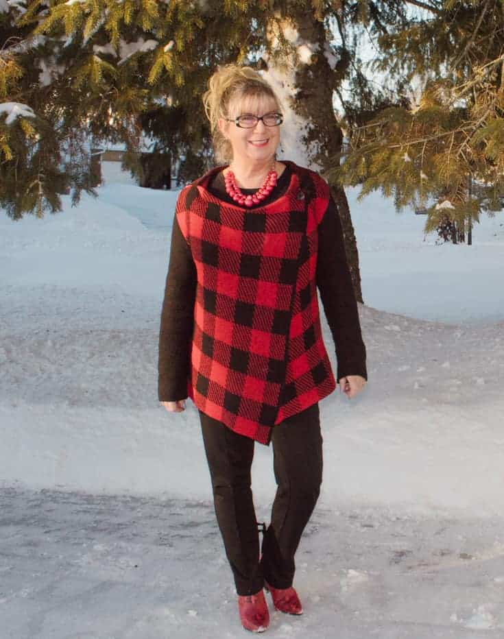 Valentine's in Buffalo Plaid in the snow