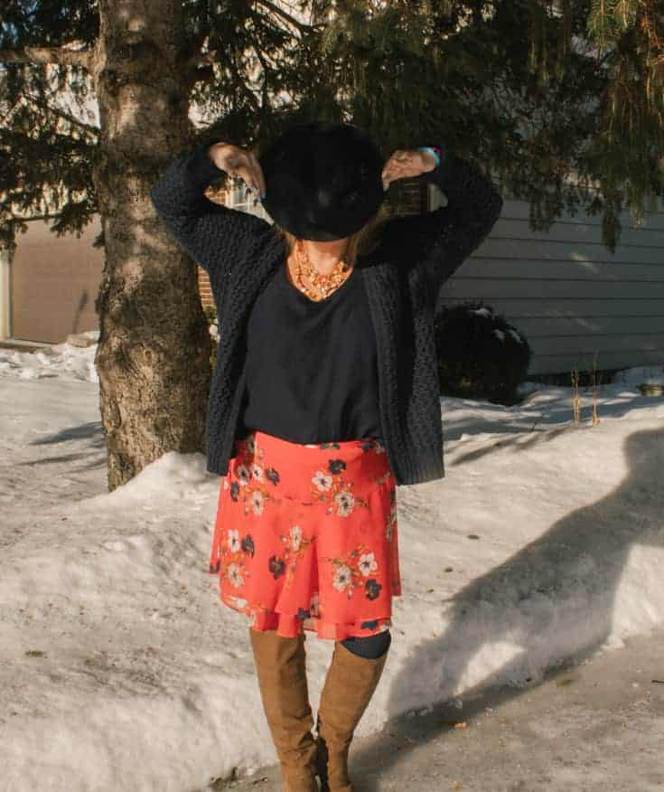 Old navy orange floral skirt-15