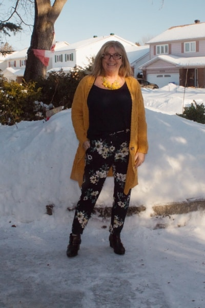 floral pants and Mustard Cardigan