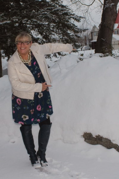 Old Navy Floral Dress in the Snow